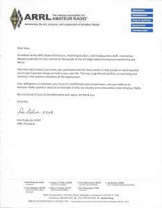 arrl letter of appreciation